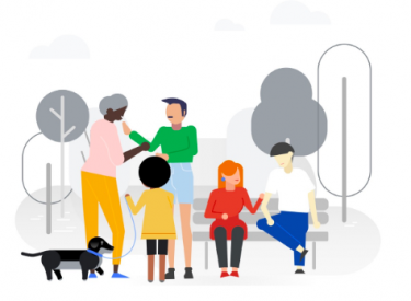 An illustration from Google's Recovery page, showing people chatting in a park