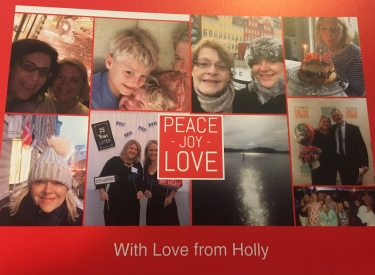The author's holiday card, featuring photos of friends, family, and travel on a red background