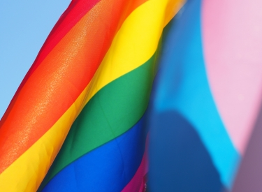 A close up of the rainbow Pride flag and the blue-pink-white trans pride flag