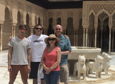 Cristina Rabadán-Diehl, her husband, and their two sons on vacation