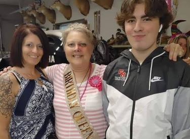 The author with her mother and son, at a birthday party