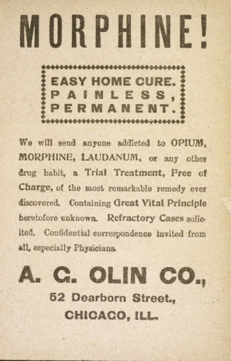 "An advertisement for ""Olin's Morphine Cure"""