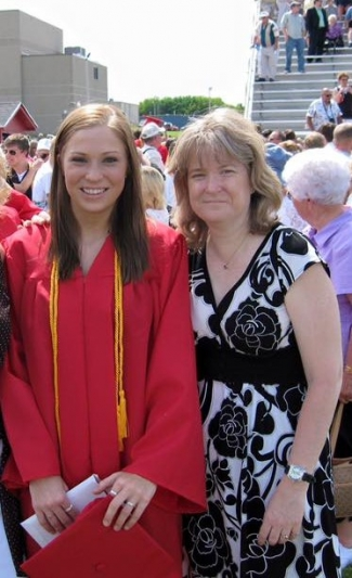 The author, Jenny Hallet, with her daughter Brittany at her high school graduation